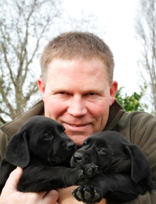 Simon and two hunting puppies.
